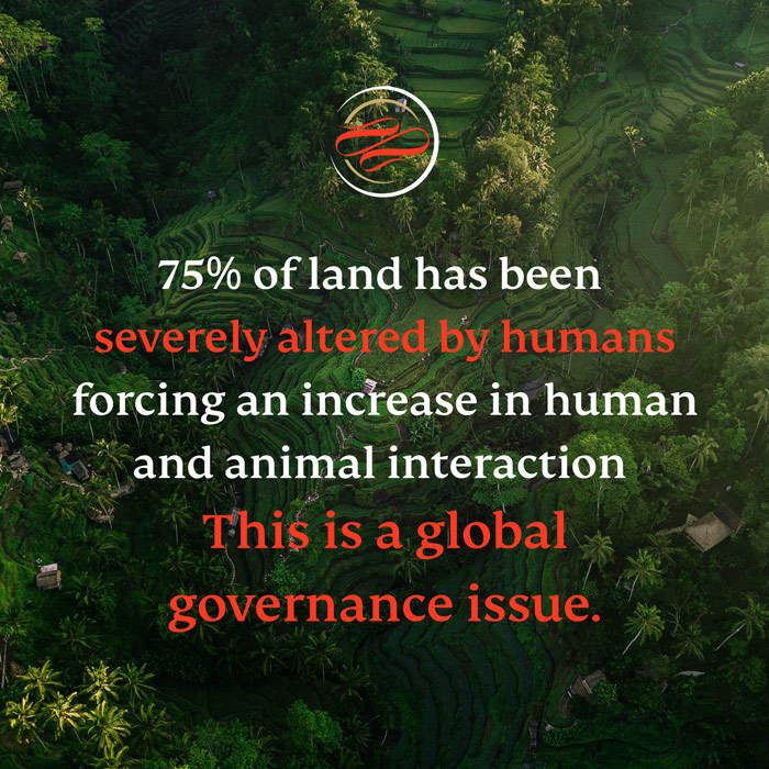 75% of terrestrial land and 66% of marine environments have been severely altered by human actions forcing more and more human-animal interaction and leaving huge portions of the world's biodiversity facing extinction.